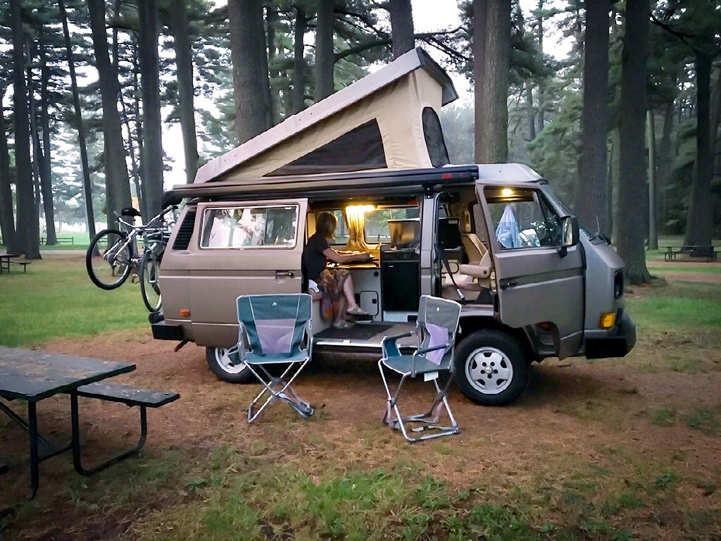 VW Vanagon Campervan RV rentals - travel and camp the Midwest